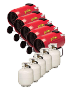 Package 6 – 5 x Space heater with gas bottles included