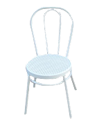 White bentwood chair with rattan seat (made from aluminium)