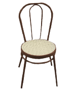 Brown bentwood chair with beige rattan seat (made from aluminium)