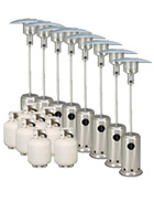 Package 8 – 8 x Mushroom heater with gas bottles included