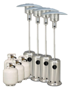 Package 4 – 4 x Mushroom heater with gas bottles included